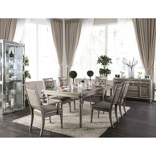 XANDRA Imprad Transitional Champagne Mirrored Dining Table w/Extention