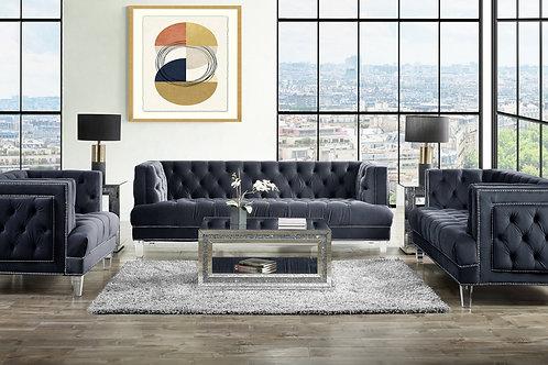 All ANSARIO Charcoal Velvet Tufted Acrylic Leg Sofa