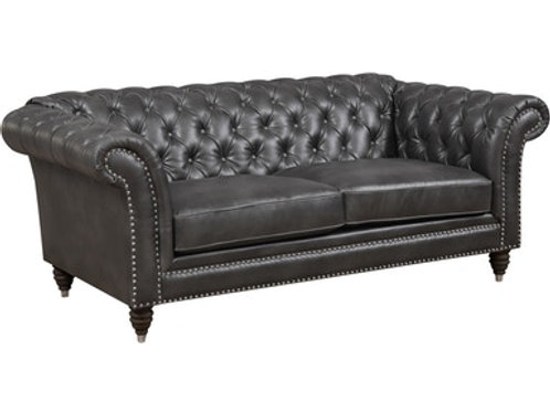 Capone Emer PU Chesterfield Charcoal Loveseat