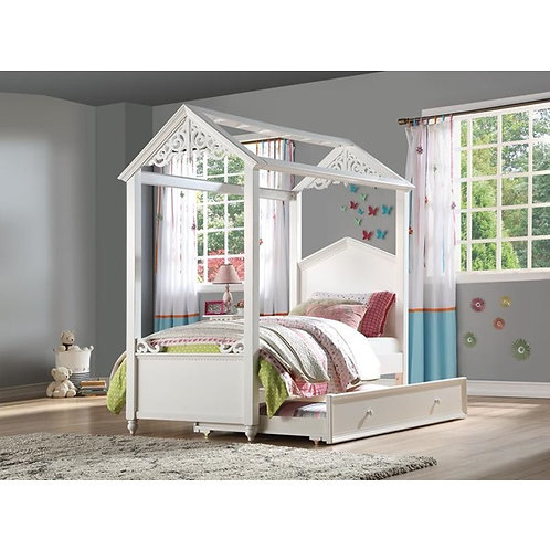 Rapunzel All White Finish Bed with Trundle