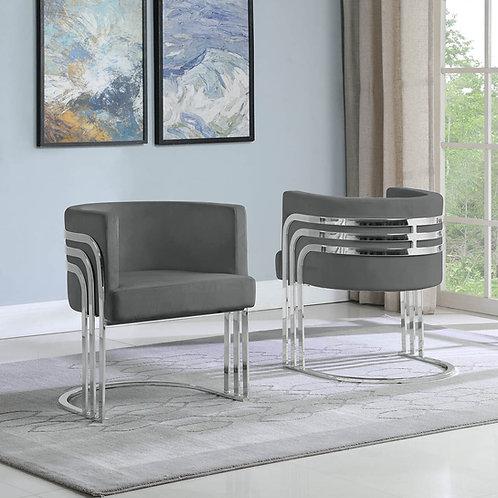 AC224 Best Q Dark Gray/Silver Velvet Chair