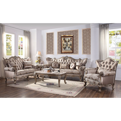 All Jayceon Traditional Fabric and Champagne Sofa