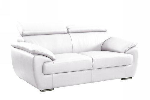 4571 Geo White Leather Loveseat