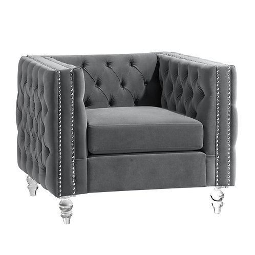 Henry 9349GRY Glam Gray Velvet Chair with Crystal Legs/Nailheads