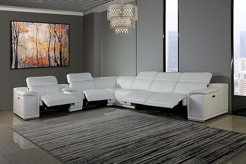 9762 Geo White 7pc Power Reclining Sectional Italian Leather