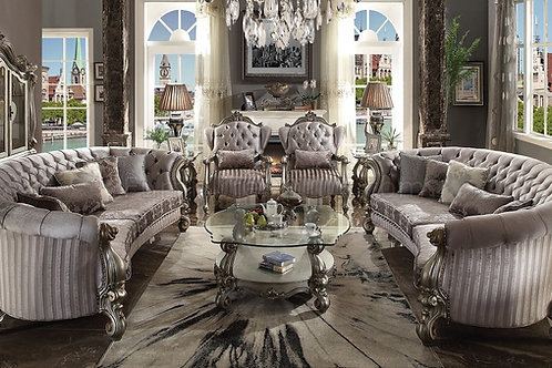 Versailles All Sofa w/5 Pillows Velvet & Antique Platinum