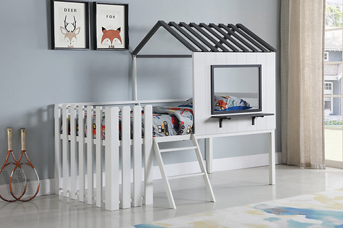 Timber Cali House-Designed Twin Loft Bed White And Gunmetal