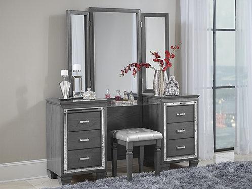 Henry Allura Gray Vanity w/ Mirror & Stool