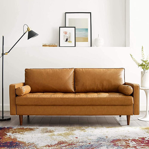 Valour Mod Upholstered Faux Leather Sofa in Tan