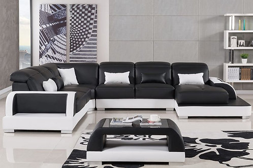811 AE Black and White Faux Leather Sectional - Left Sitting
