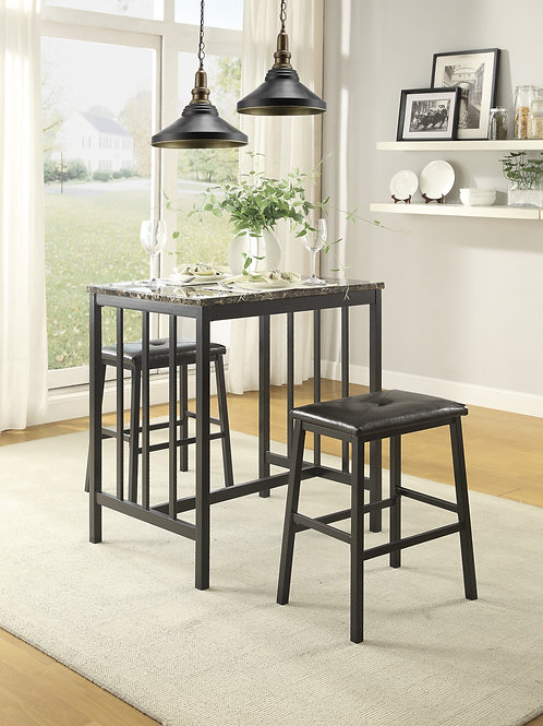 Edgar Henry 3-pc Counter Height Set (Table + 2 Stools)