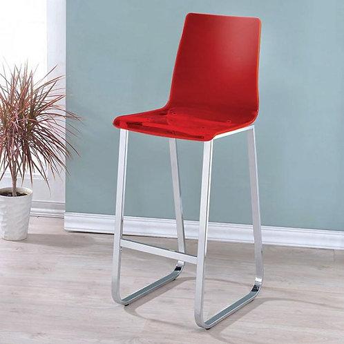 XENA Imprad Red Acrylic Chrome Finish Bar Chair