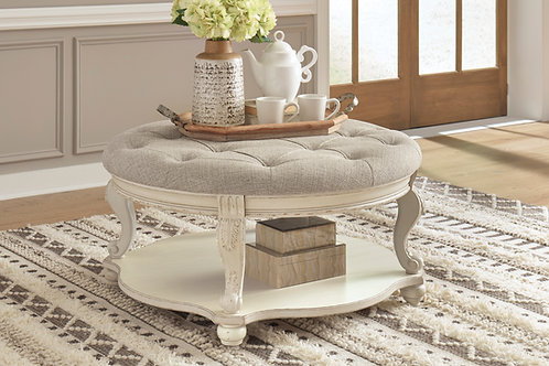 Angel Realyn Rustic White/Brown Beige Linen Ottoman Cocktail Table