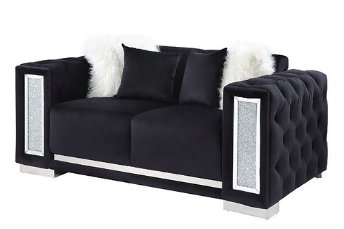 All TRISLAR Tufted Button & Mirror Trim Black Velvet Loveseat