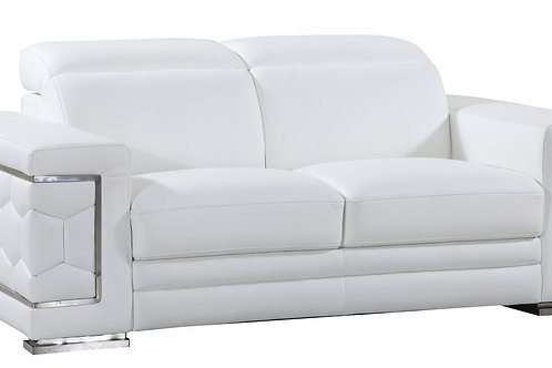 692 Geo White Italian Leather Loveseat