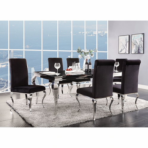 Fabiola All Stainless Steel/ Black Glass Dining Table
