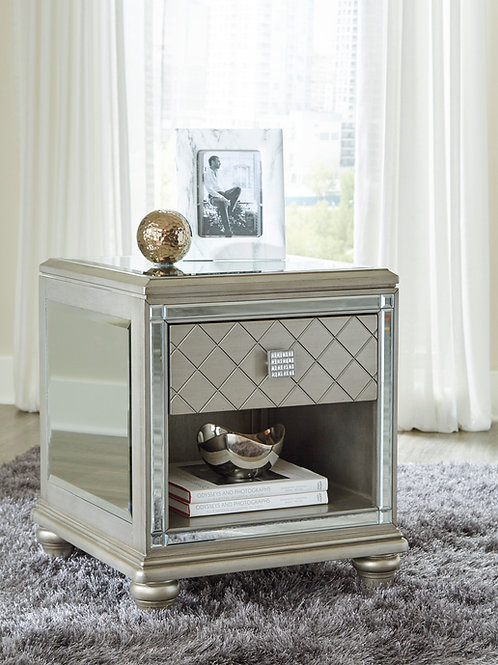 Angel Chevanna Contemporary Platinum Mirrored End Table w/ 1 Drawers