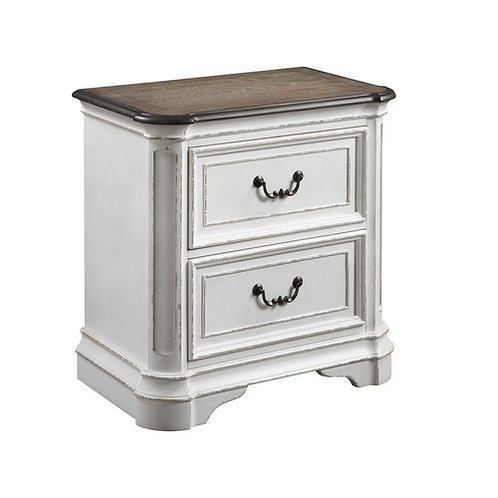 All Florian Antique Washed White Night Stand