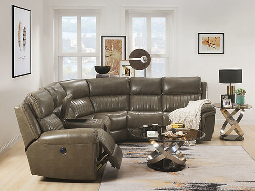 All  Lonna Sectional Sofa (Power Motion) Taupe Leather-Gel