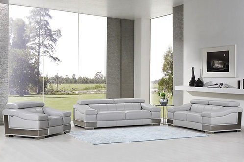 Geo 415 Italian Leather Light Gray Sofa