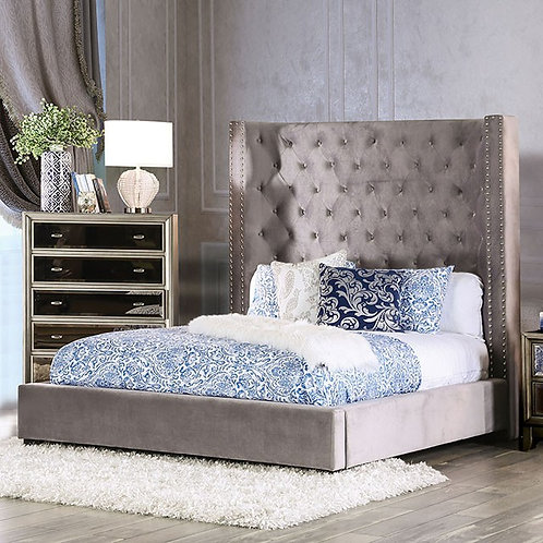 MIRABELLE Gray Flannelette Contemporary Bed