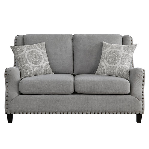 Henry Halton Gray Fabric Loveseat with Nailheads