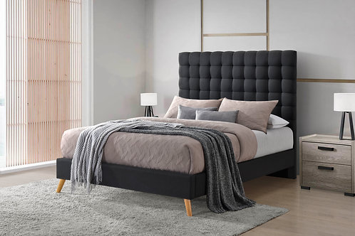 7675 Milt Dark Gray  Linen Tufted Platform Bed