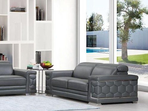 692 Grey Modern Loveseat Italian Leather