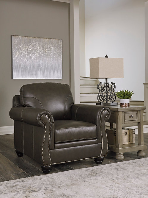 Lawthorn Angel Slate Leatherette Traditional Chair w/ Nailheads