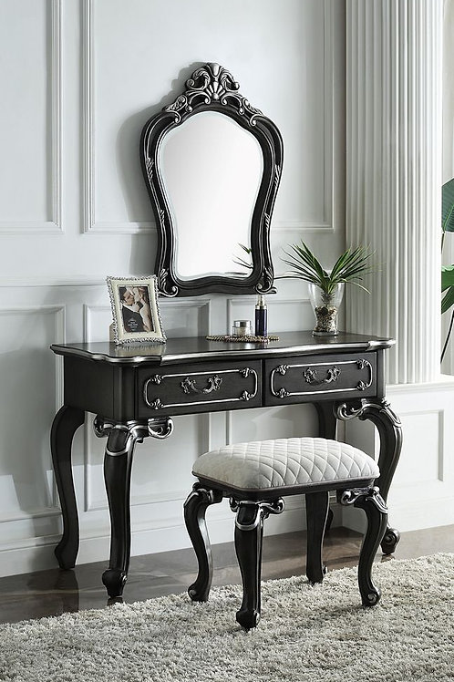 All House of Delphine 2 Tone Charcoal with Silver Trim Vanity Desk