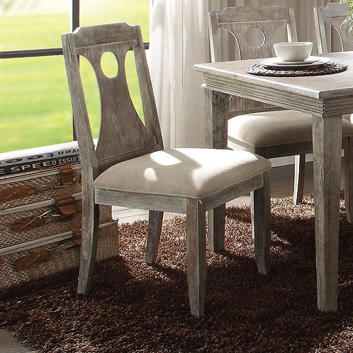 Colette All Gray Oak Finish White Fabric Side Chair
