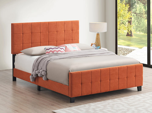 Fairfield Cali Upholstered Panel Bed Orange