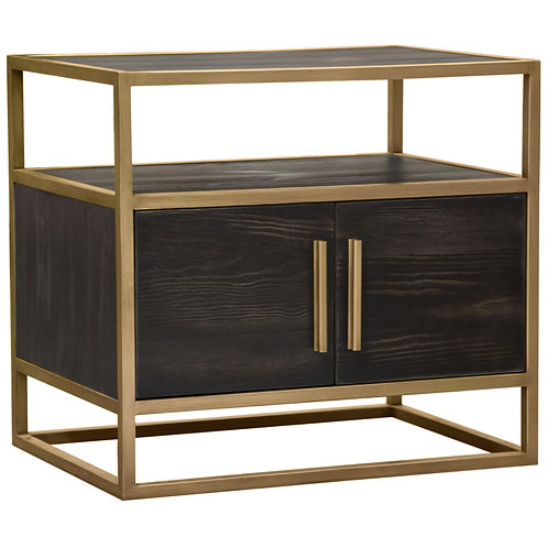Empire Dream Nightstand Brown and Brushed Gold Frame