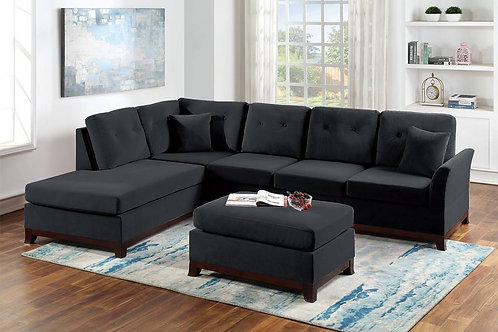 2-Pcs Sectional Sofa Black Velvet Port 8848