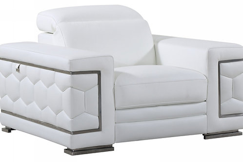 692 Geo White Italian Leather Chair