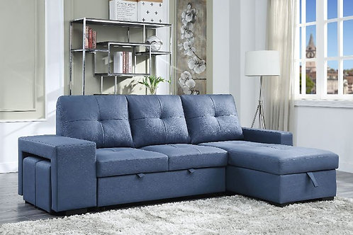 All STROPHIOS Blue Fabric Contemporary Reversible Pullout Sleeper Sectional Sofa