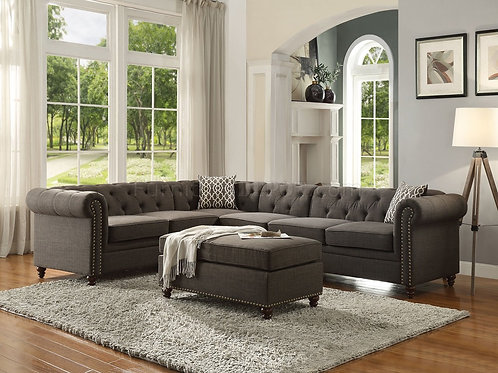 Aurelia All Sectional Sofa (Not Reversible)  Charcoal Linen