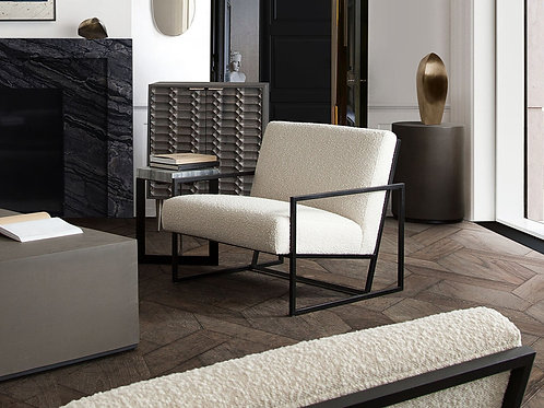 Dream Lux Bone Boucle Textured Fabric Accent Chair