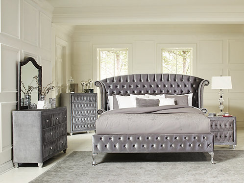 Deanna Cali Tufted Upholstered Bed Grey