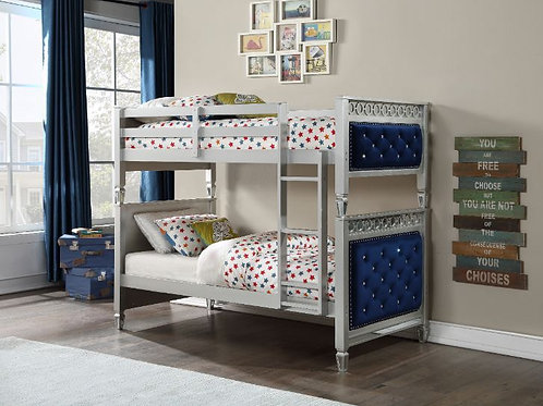 All Tufted Blue Velvet Twin/Twin Bunk Bed W/Trundle- 38330