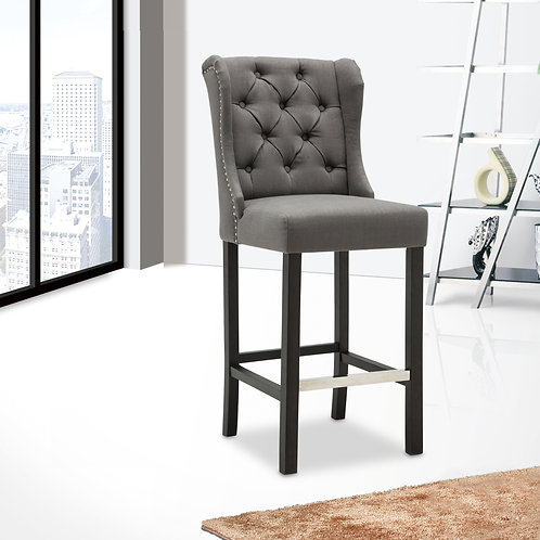 Best BS545 Gray Linen Tufted Barstool