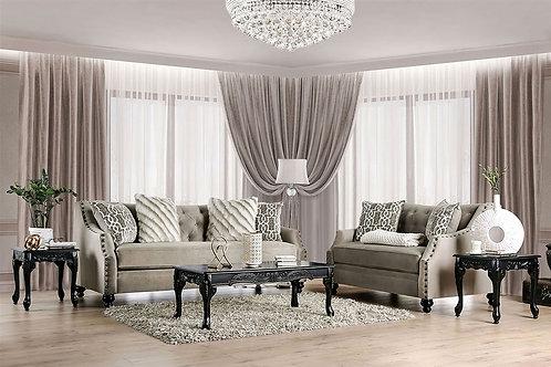 EZRIN Imprad Transitional Light Brown Chenille Sofa w/Pillows