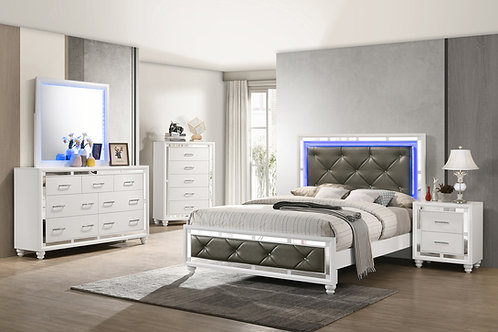 Whitaker Bed With LED Lighting White