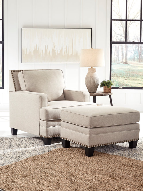 Claredon Angel Beige Linen Chair with Nailheads