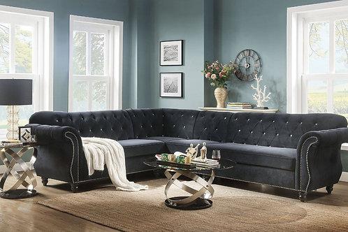 All Regan Black Velvet Sectional Sofa w/Nailheads-Crystal like tufting