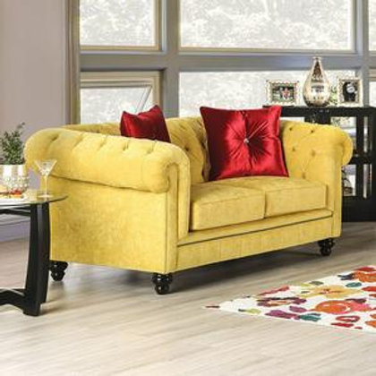 ELIZA Imprad Glam Microfiber Chesterfield Royal Yellow Loveseat