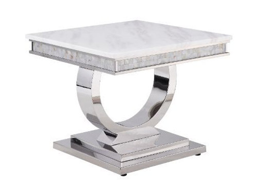 All 87359 Zander Marble Top Stainless Steel Base End Table