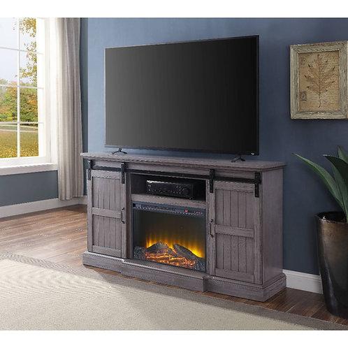 All Admon TV Stand w/Fireplace (LED) - 91618 - Farmhouse Gray Oak