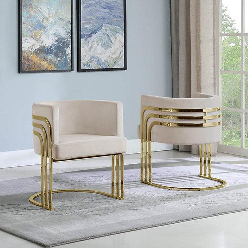 AC223 BestQ Beige/Gold Velvet Chair