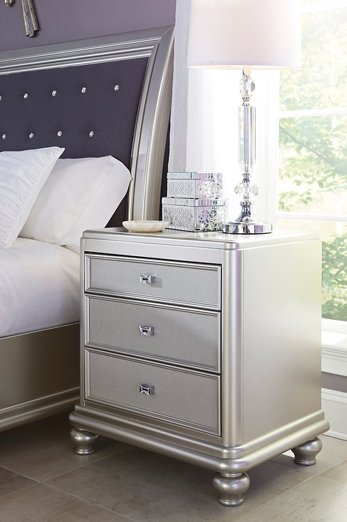 Coralayne Angel Silver 3 Drawer Night Stand